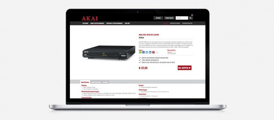 Screenshot van AKAI webshop